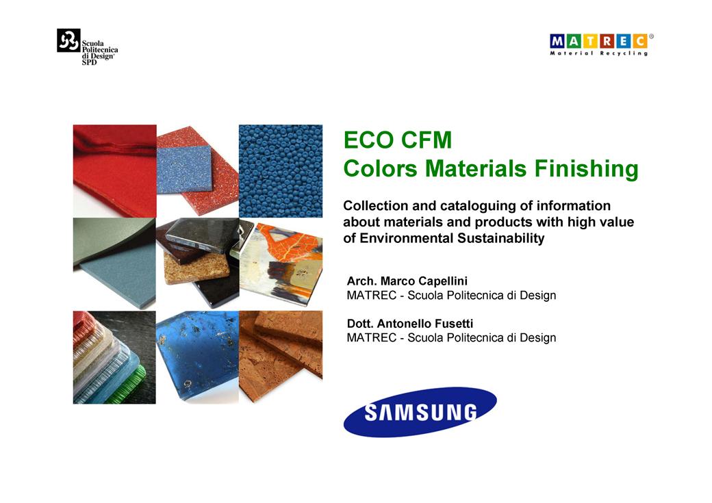 ECO CFM - Colors Materials Finishing.01.Marco Capellini